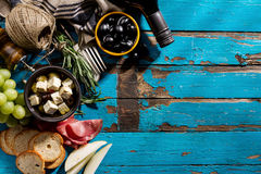 Free Tasty Appetizing Italian Mediterranean Food Ingredients Flat Lay Royalty Free Stock Images - 97507949