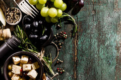 Tasty appetizing italian Mediterranean Food Ingredients Flat Lay. On Green Old Rustic Background Top View Copy Space Above Royalty Free Stock Images