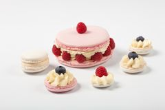 Tasty appetizing macaron ispahan  with fresh berries raspberry bilberry Royalty Free Stock Photos