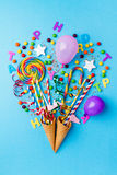 Tasty appetizing Party Accessories Sweets Fake Bouquet Handmade. Tasty appetizing Party Accessories Happy Birthday Sweets Treat Balloon Candy Lollypop Colorful Stock Image