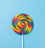 Tasty appetizing Party Accessory Sweet Swirl Candy Lollypop on B Royalty Free Stock Images