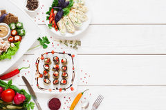 Tasty appetizing snacks, flat lay, free space Royalty Free Stock Photos