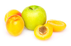 Tasty apple and apricots Royalty Free Stock Photography