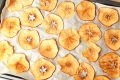 Tasty apple chips Stock Photos