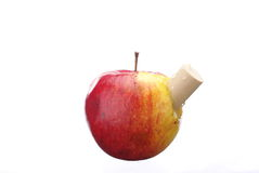 Tasty apple with cork Royalty Free Stock Images