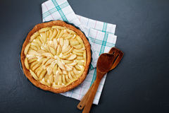 Tasty apple pie on dish. Close up. From above. Copy space. Stock Photos