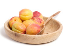 Tasty apricot in wooden plate Royalty Free Stock Image
