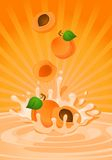 Tasty apricot in yoghurt. On an abstract background Royalty Free Stock Images