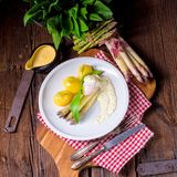 Asparagus with egg and fresh wild garlic Stock Photography