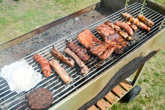 Tasty assortment of meat on a summer barbecue Stock Photos