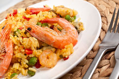 Tasty Authentic Paella Close up Stock Photography