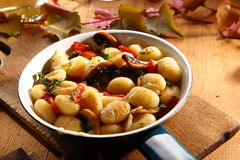 Tasty autumn recipe with gnocchi and mushrooms Royalty Free Stock Images