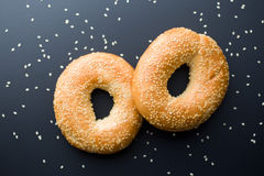 Tasty bagel with sesame seed Royalty Free Stock Photo