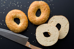 Tasty bagel with sesame seed Stock Photo