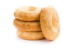 Tasty bagel with sesame seed Stock Images