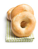 Tasty bagels on napkin Royalty Free Stock Images