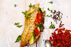 Tasty baguettes with savory fillings Royalty Free Stock Photography