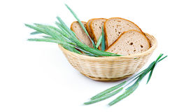 Tasty baked bread with ears of wheat Royalty Free Stock Photo