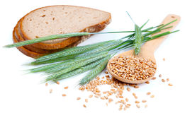 Tasty baked bread with wheat grain Royalty Free Stock Photography