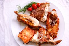 Tasty baked fish with cherry tomatoes and fresh Stock Photo