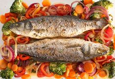 Tasty baked fish with vegetable garnish. Top view Stock Photo