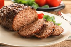 Tasty baked turkey meatloaf. On plate Royalty Free Stock Images