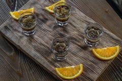 Tasty bar alcoholic shots. Mix cocktail & wood Royalty Free Stock Image