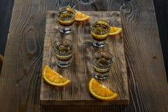 Tasty bar alcoholic shots. Mix cocktail & wood Royalty Free Stock Photos