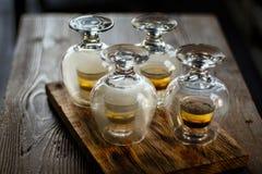 Tasty bar alcoholic shots. Mix cocktail & wood Royalty Free Stock Photography