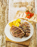 Tasty barbecued picnic lunch Royalty Free Stock Images
