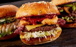 Free Tasty Barbecued Surf And Turf Burger Royalty Free Stock Image - 107562506