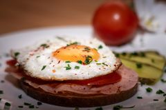 Tasty bavarian breakfast called strammer max royalty free stock photography