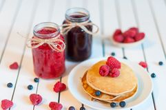 Tasty and beautiful food. Pancake with berries jam Royalty Free Stock Image
