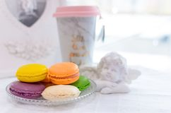 Tasty beautiful macaroons on a beautiful table in the style of P Royalty Free Stock Image
