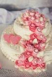 Wedding cake with flowers. Tasty beauty wedding cake with flowers Stock Image
