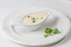 Tasty Bechamel sauce or white sauce with fresh greenery.  royalty free stock images