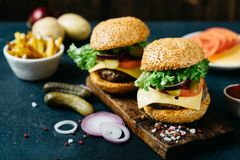 Delicious fresh homemade beef burger. Tasty beef burger with lettuce and ripe tomatoes, cheese and red onion. Delicious fresh homemade burger, fastfood concept Royalty Free Stock Image
