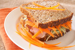 Tasty beef sandwich on wholewheat bread Stock Photo