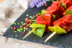 Tasty beef steak kabobs Stock Image