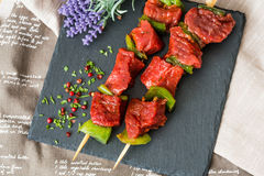 Tasty beef steak kabobs with vegetables Stock Photo