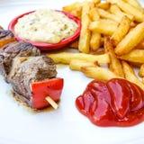 Tasty beef steak kabobs Royalty Free Stock Image