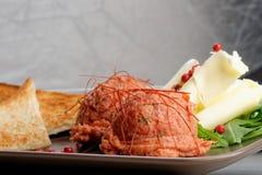 Tasty beef tartare with toast bread Stock Photos