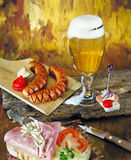 Tasty Beer sausages sandwich Royalty Free Stock Photo