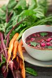 Tasty beetroot soup made of fresh beetroots royalty free stock photo