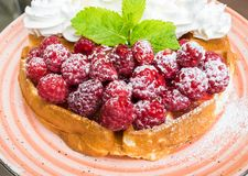 Waffles with raspberries and whipped cream. Tasty belgian waffles with fresh raspberries and whipped cream with almond flakes. Decorated with mint leaves and Royalty Free Stock Photos