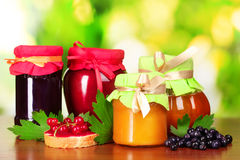 Tasty berry and fruit jam and berry on a green bac Royalty Free Stock Images