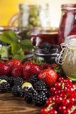 Tasty berry and fruit jam and berry. Fruit jamand, Set of glass jars Stock Photography