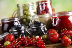Tasty berry and fruit jam and berry Royalty Free Stock Images