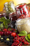 Tasty berry and fruit jam and berry Stock Photo