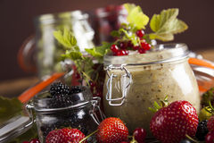 Tasty berry and fruit jam and berry Stock Photos
